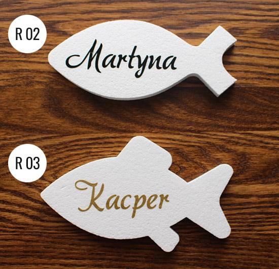 ryby styropianowe na komunię z imionami dzieci