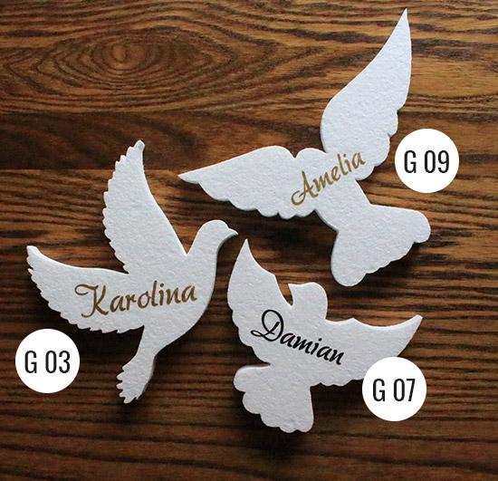 gołębie styropianowe z imionami dzieci - dekoracje komunijne