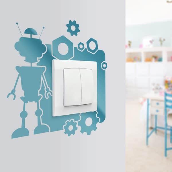 naklejka pod kontakt na ścianę z robotem