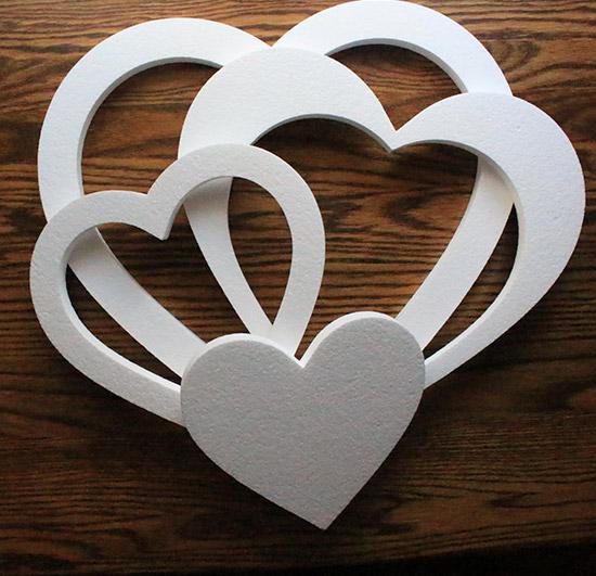 dekoracje weselne serca ze styropianu