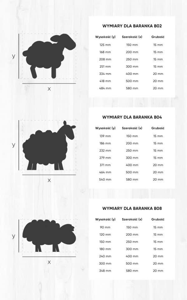 owieczki i barany wymiary